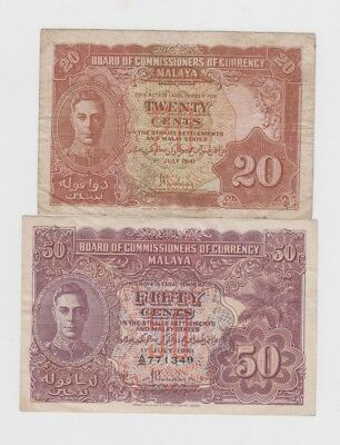 Malaya  Paper money  two old notes vf