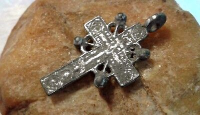 "ANTIQUE SOLID SILVER ORTHODOX ""OLD BELIEVERS"" ORNATE ""SUN"" CROSS 15-17th CENTURY"