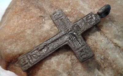 ANCIENT ORTHODOX RUSSIAN NORTH HAND-CARVED CROSS 15-17th CENTURY WORDS OF PRAYER