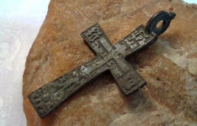 "RARE 17-18th CENTURY ORTHODOX CROSS with ARROW HEAD LOOP and PSALM 68 ""EXORCISM"""