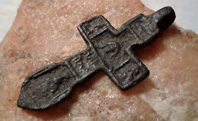 "RARE 15-16th CENTURY CROSS HOLY FACE OF JESUS ""VERONICA"" SAINTS JOHN, NICHOLAS"