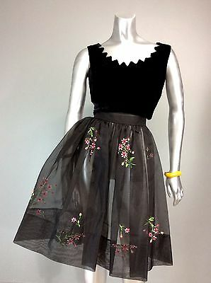 "Vtg 50s Silk Organza Floral Embroidery Black Sheer Over Skirt Hostess 83"" sweep"