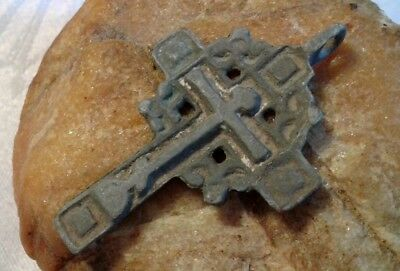 "ANTIQUE 17-19th CENTURY RUSSIAN ORTHODOX ""OLD BELIEVERS"" ""SUN"" CROSS PENDANT"