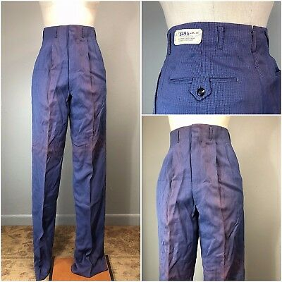 Vtg 50s Pants Faded As Is Acetate Rayon Gabardine Blue Stripe Rockabilly NOS 28