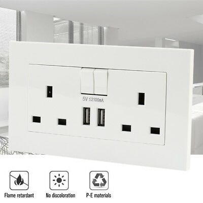 2 Way UK Mains Power Socket With USB Charging Ports Connection Wall Plate Plug