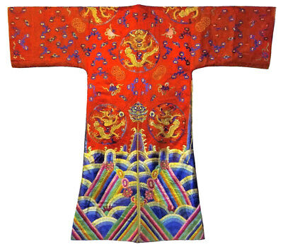 Antique Chinese Silk Dragon Robe Embroidery Opera Theater Embroidered Coat Huge