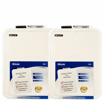 """2pc 8.5 X 11"""" Small Dry Erase White Board With Marker Note Study Student Class"""
