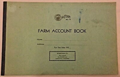 Vintage 1950s Car-Ferry Line 75 Farm Account Book Ledger Calendar Inventory List
