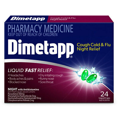 ツ Dimetapp Cough Cold & Flu Night Relief 24 Liquid Capsules Fast Relief