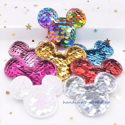 16Pcs Glitter Sequins Mouse Appliques for Crafts Headwear Accessory Mickey Patch