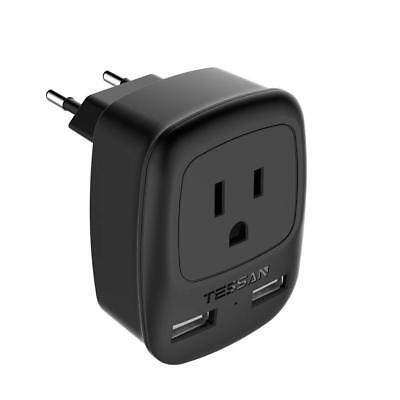 TESSAN USA to Most of Europe Travel Plug Adapter with 2 USB Charging Ports