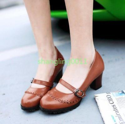 Womens Brogue Chunky Heels Round Toe Loafers Buckle Oxfords Shoes Mary Janes SZ