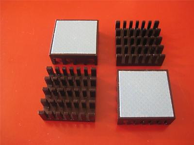 Black Aluminum 25X25X5 HEAT SINK with Thermal Adhesive  ( Qty 10 )  *** NEW ***