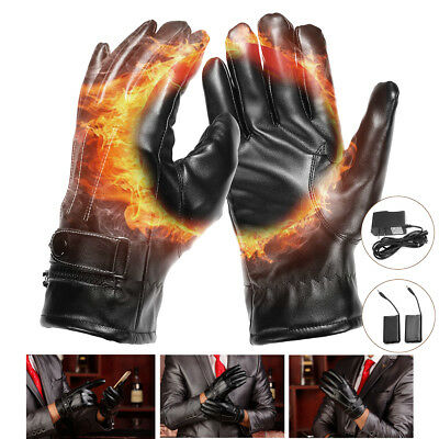 Leather Rechargeable Battery Power Electric Fingers Hand Heated Warmer Gloves