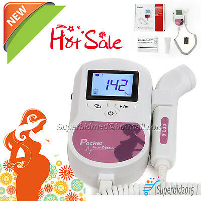 LCD Prenatal Pocket Fetal Doppler Ultrasound Baby Heart Beat Monitor with 1GEL