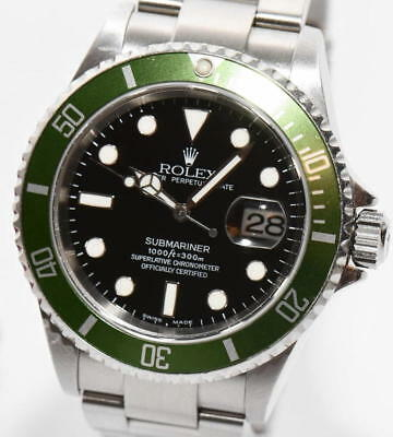 original Rolex Submariner Stahl GREEN Ref.16610LV Papiere Box 2004