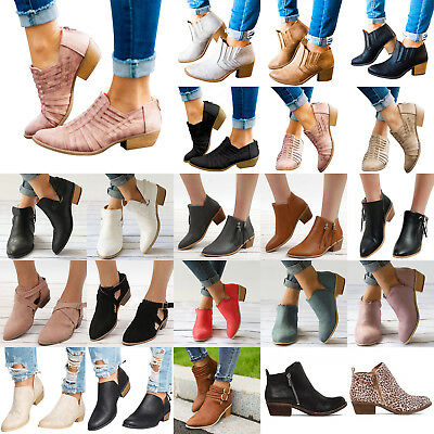 Women's Ankle Boots Mid Block Heel Zipper Buckle Chunky Booties Winter Shoes AU