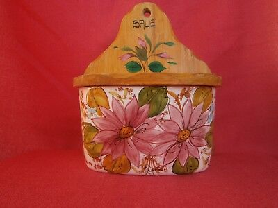 Vintage  Porcelain Wood Salt Box Container Flowers Old Hand Painted Spice Italia