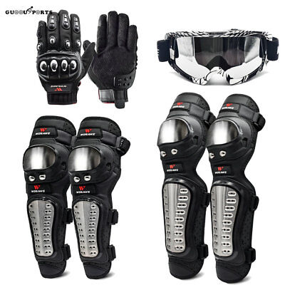 Motorcycle Cycling Knee Pad Brace Shin Armor Protector Guard gloves sunglasses