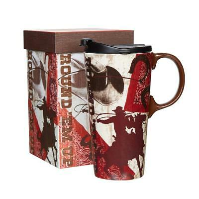 Ceramic Travel Mug Coffee Cup with Sealed Lid and Gift Box 17 oz (Horsemen)