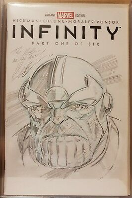 Infinity #1 Braithwaite Thanos blank variant  commission sketch Marvel (Not CGC)