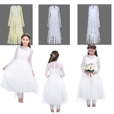 Flower Girl Dress Long Vintage Lace Dance Party Dress Birthday Wedding Pageant