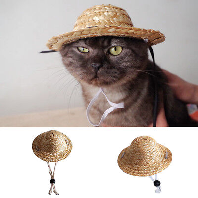 ITS- Pet Dog Puppy Cat Hawaii Hat Custom Funny Straw Sunhats For Small Animals G