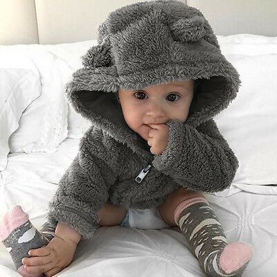 UK Toddler Baby Boys Girls Fur Hoodie Tops Winter Warm Coat Jacket Thick Clothes