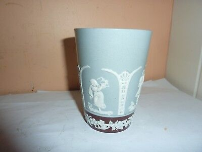 Late 19Thc Copeland 10.3Cm High Beaker With Brown/grey Colour & Dancing Children