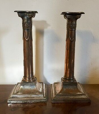 Pair Antique 18th 19th century Old Sheffield Silver on Copper Plate Candlesticks