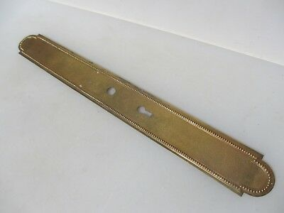 """Vintage Brass Finger Plate Push Door Handle French Antique Beading Old 21.5"""""""
