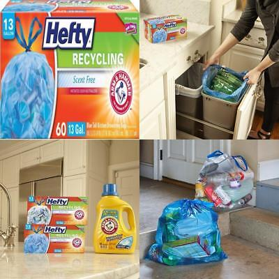60 Count Hefty Recycling Trash Garbage Bags Blue Kitchen Drawstring 13 Gallon