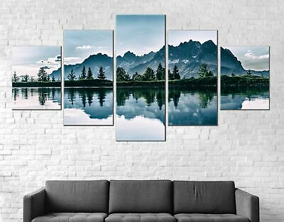 Lake Forest Mountains Canvas Print Painting Framed Home Decor Wall Art Poster 5P