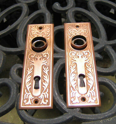 Pair Antique Victorian Aesthetic Eastlake Mortise Door Escutcheon Plates Corbin