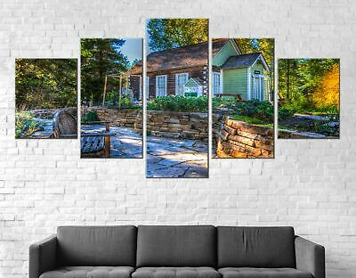 Wooden House Forest Canvas Print Painting Framed Home Decor Wall Art Poster 5Pcs
