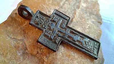 "RARE ANTIQUE LARGE ORTHODOX ""OLD BELIEVERS"" CROSS w/ HAND-CARVED ""JESUS"" PRAYER"