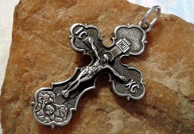VINTAGE SOLID SILVER EASTERN ORTHODOX or CATHOLIC LARGE CRUCIFIX SAINT GEORGE