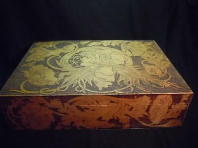HV] VINTAGE PYROGRAPHY ETCHED WOODEN BOX - APPROX 13 x 18 X 5