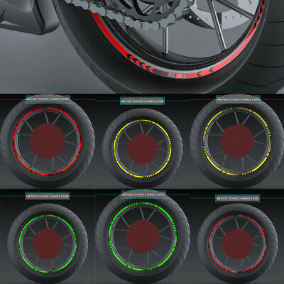 REFLECTIVE MOTORCYCLE or CAR RIM STRIPES WHEEL DECALS TAPE STICKERS 14/17 inch