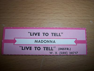 "1 Madonna Live To Tell Jukebox Title Strip CD 7"" 45RPM Records"