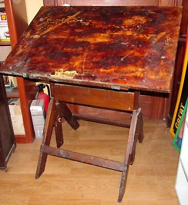 Vtg Wood Tilting/Tilt Art/Artist/Drawing/Drafting Table/Desk J930