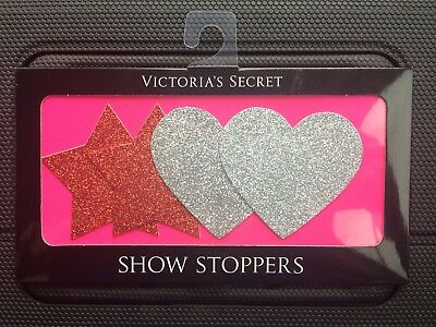 Victoria's Secret SHOW STOPPERS PASTIES Glitter HEART & STAR STICKERS Red Silver