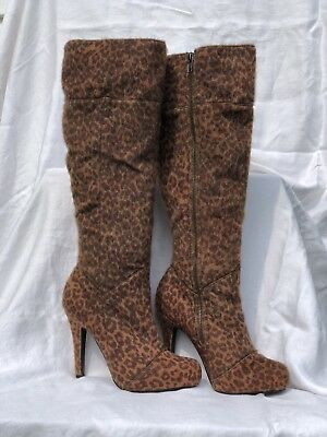 """Very Fabulous Stiletto Knee High """"Just Fabulous"""" Boots Faux Print Ladies S-6.5"""