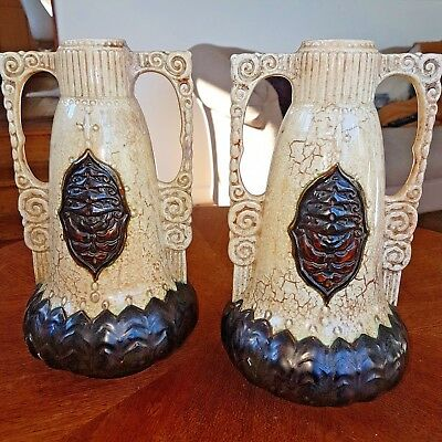 2 Large Antique Bohemian/ majolica twin  handled vases