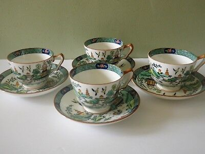 4 Crown Staffordshire Chinese Willow Cup & Saucer Sets - 8 Pcs - Mint