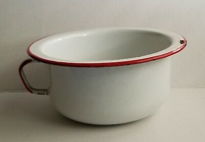 Chamber Pot Vintage Enamelware Distressed Rustic Farmhouse Handle White Red Trim
