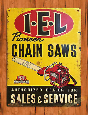 "TIN SIGN ""Pioneer IEL"" Chainsaw Dealer Ad Rustic Garage Wall Decor"