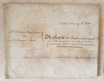 1826 Large Vellum Indenture Tomlinson to Clark for Land in Pilling, Lancashire
