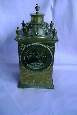 An Antique French Brass Lantern Clock Of Unusual Style In Good Working Order