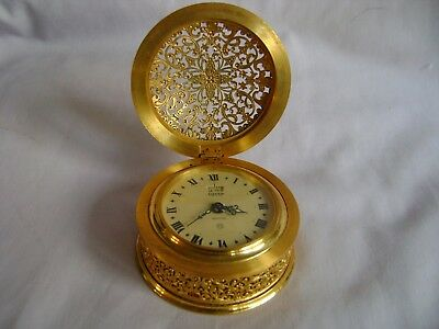 Vintage Ornate Gilt Brass Jaeger Desk / Alarm Clock In Good Working Order
